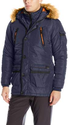 X-Ray Men's Slim Fit Parka Coat with Removable Faux Fur Hoodie