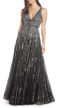 Mac Duggal Deep V-Neck Sequin Stripe Gown