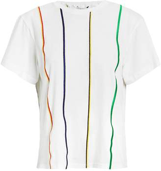 Derek Lam 10 Crosby Striped Embroidered T-Shirt