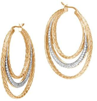 John Hardy 18K Yellow Gold Classic Chain Pavé Diamond Medium Hoop Earrings