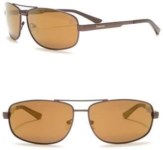 Timberland Aviator 63mm Polarized Sunglasses
