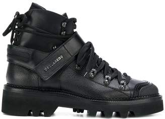 DSQUARED2 logo strap double laced boots