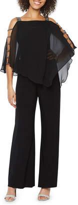 MSK 3/4 Sleeve Embellished Cape Jumpsuit