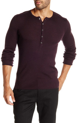 John Varvatos Collection Long Sleeve Wool-Silk Ribbed Henley Sweater $348 thestylecure.com