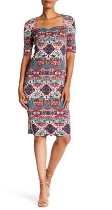 London Times Printed Sweetheart Neck Dress
