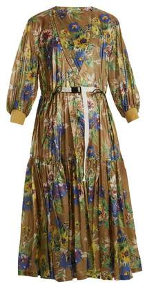 Toga Belted Floral Print Nylon Dress - Womens - Green Multi