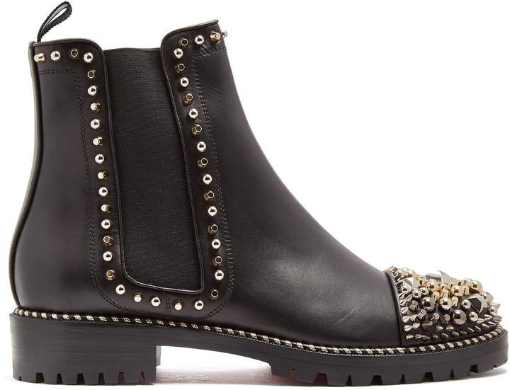 CHRISTIAN LOUBOUTIN Chasse embellished leather chelsea boots