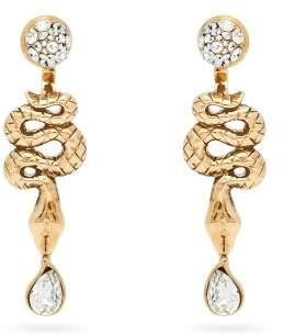 Etro Snake Drop Earrings - Womens - Crystal