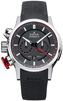 Edox Men's 'Chronorally' Swiss Quartz Stainless Steel and Rubber Sport Watch