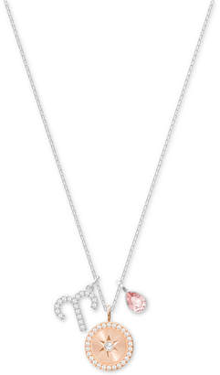 "Swarovski Silver-Tone Zodiac Pave, Crystal & Birthstone Charm 14-7/8"" Pendant Necklace"