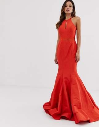 de4e0ef464aa3 Jovani fishtail backless maxi dress with ruffle detail