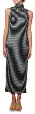 Amour Vert Sleeveless Side-Ruched Turtleneck Dress