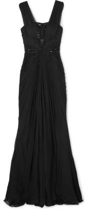Murad Zuhair Embellished Tulle-paneled Ruched Silk-chiffon Gown - Black