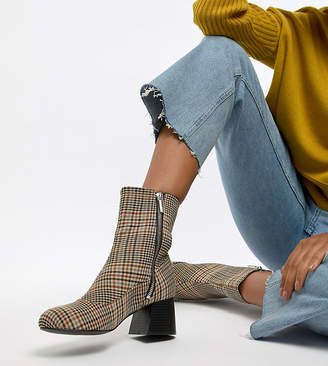 Monki check heeled ankle boots in brown