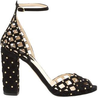 Elie Saab Black Suede Sandals