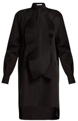 Givenchy Pleated Ruffle Cotton Shirtdress - Womens - Black