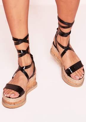 2489190376e2 Missy Empire Missyempire Jolene Black Croc Print Tie Up Espadrille Flatform  Sandals