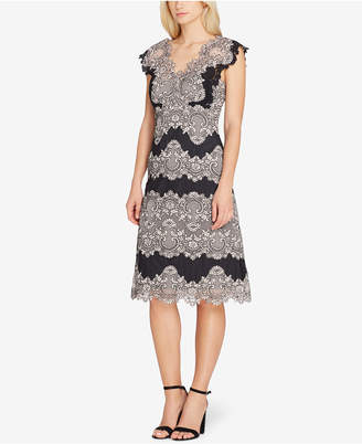 Tahari ASL Scalloped Lace Stripe Dress