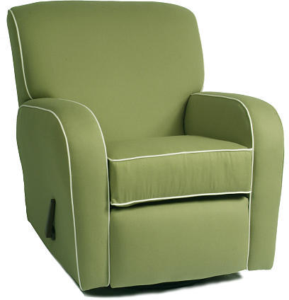 Oxford The Kacy Collection Silhouette Curve Arm Recliner - Pistachio with White Piping Fabric