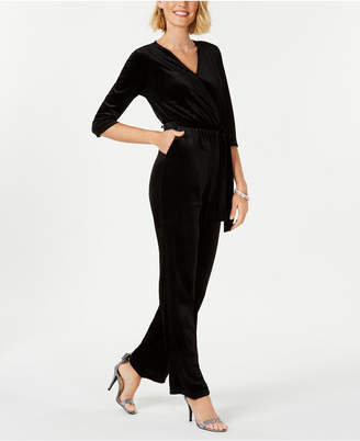 NY Collection Petite Velvet Wrap Jumpsuit