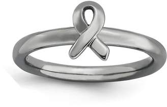 Stackable Expressions Sterling Silver Black-Plated Awareness Ribbon Ring
