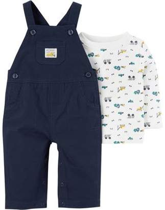 Carter's Child of Mine by Newborn Baby Boy Long Sleeve Shirt and Overall Set
