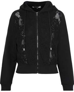 Love Moschino Lace-Paneled Cotton-Blend Fleece Hoodie