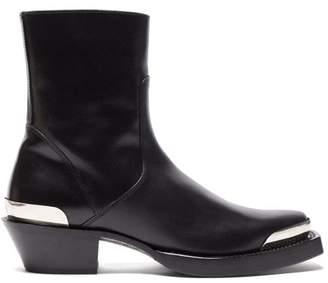 Vetements Texan Toe Cap Leather Boots - Mens - Black