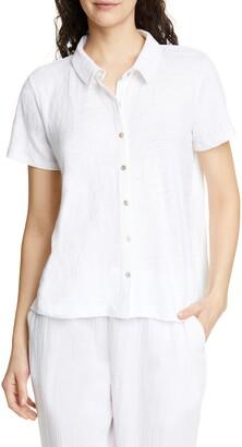 Eileen Fisher Short Sleeve Organic Linen Button Up Blouse