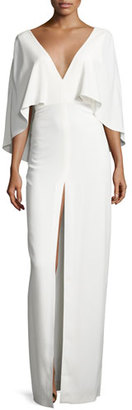 Halston Heritage Short-Sleeve Stretch Crepe Column Gown, Chalk $395 thestylecure.com