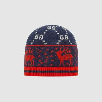Gucci Baby GG reindeers wool hat