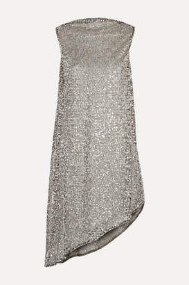 Halpern Draped Sequined Mesh Mini Dress - Silver