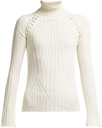 Lattice Silk Blend Sweater - Womens - Ivory