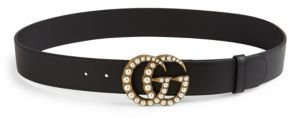 Gucci Pearly GG Buckle Leather Belt $650 thestylecure.com