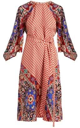 D'ascoli - Alessandra Tile Print Silk Dress - Womens - Red Multi