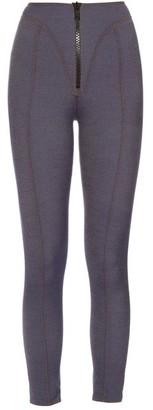 Lisa Marie Fernandez Yoke Zip Front High Waisted Leggings - Womens - Dark Denim