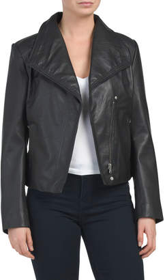 Lamb Leather Envelope Collar Jacket