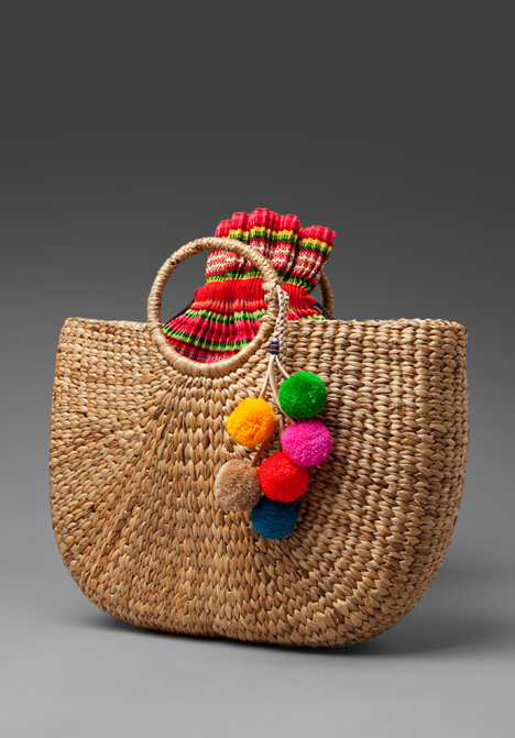 JADEtribe Beach Basket with Pom Poms