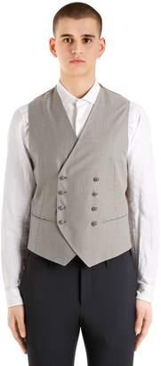 Tagliatore Micro Textured Wool & Cotton Blend Vest