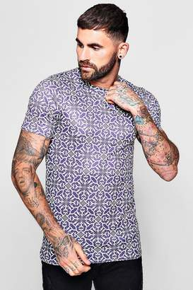 boohoo Muscle Fit Purple Baroque T-Shirt
