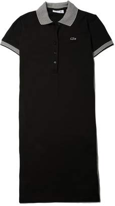 Lacoste Women's Stretch Mini Cotton Pique And Contrast Accents Polo Dress
