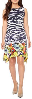Robbie Bee Sleeveless Animal Floral Print A-Line Dress