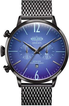 Welder Men Gunmetal Stainless Steel Mesh Bracelet Watch 45mm