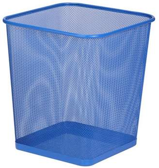 Honey-Can-Do Square Steel Mesh Trash Waste Basket, Blue