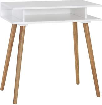 STUDY Cato White desk with solid wood legs