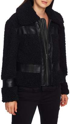 1 STATE 1.STATE Faux Shearling Bomber Jacket