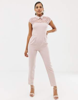 117d81b6fa70 Asos Design DESIGN lace top jumpsuit with collar