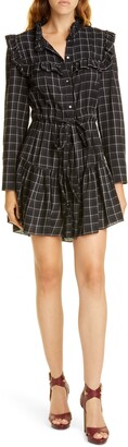 Rebecca Taylor Plaid Long Sleeve Mini Shirtdress