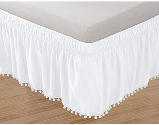 Elegant Comfort Celine Linen Luxury Top-Knot Tassle PomPom Fringe Ruffle Bed Skirt -Wrap Around Style- Elastic Bed Wrap- Wrinkle Resistant 16inch Drop, Twin/Full, White