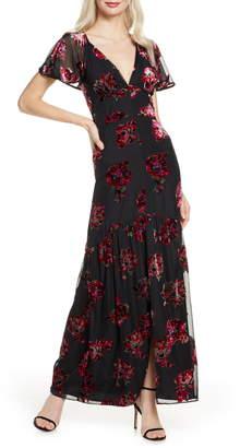 Harlyn Cape Sleeve Velvet Burnout Maxi Dress